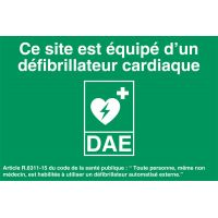 Panneaux de signalisation défibrillation DAE site équipé 30 x 20 cm en PVC