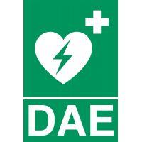 Panneaux de signalisation défibrillation-Adhésif vinyle DAE 10 x 15 cm