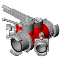 Division à boisseau sphérique 3 robinets - Entrée : AR 100. Sorties : AR 100, 2 x DSP 65